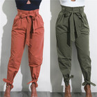 Wholesale New Fashion Trousers Women High Waist Harem Pants With Bow Tie