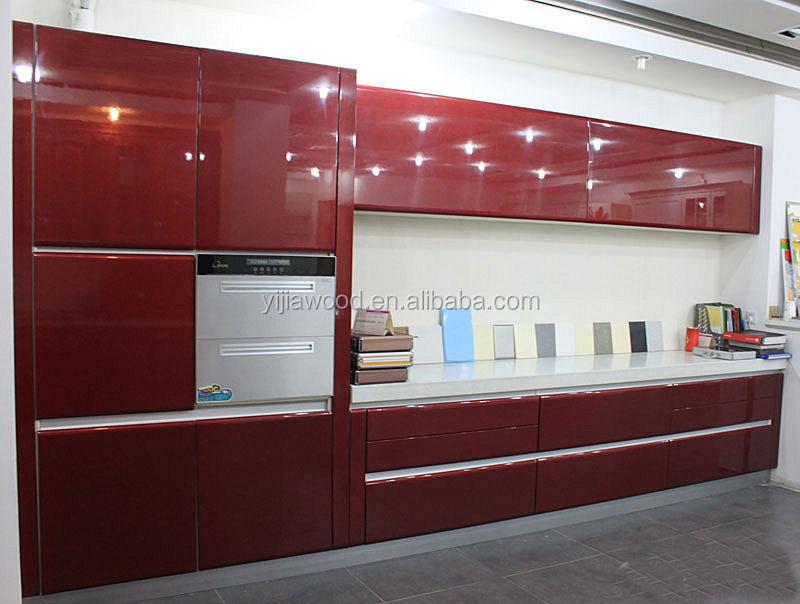 Red Color Uv Finished Door Aluminium Edge Body Glass Door Kitchen