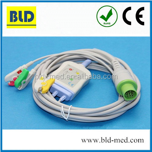 3 leads Hellige ecg cable for SCP844,SCS804, CardioServ,VICOM-sm
