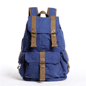 Unisex Latest Fashion Vintage Style Cheap Mix Washed Canvas and Genuine Leather Backpack India with Copper Hardware