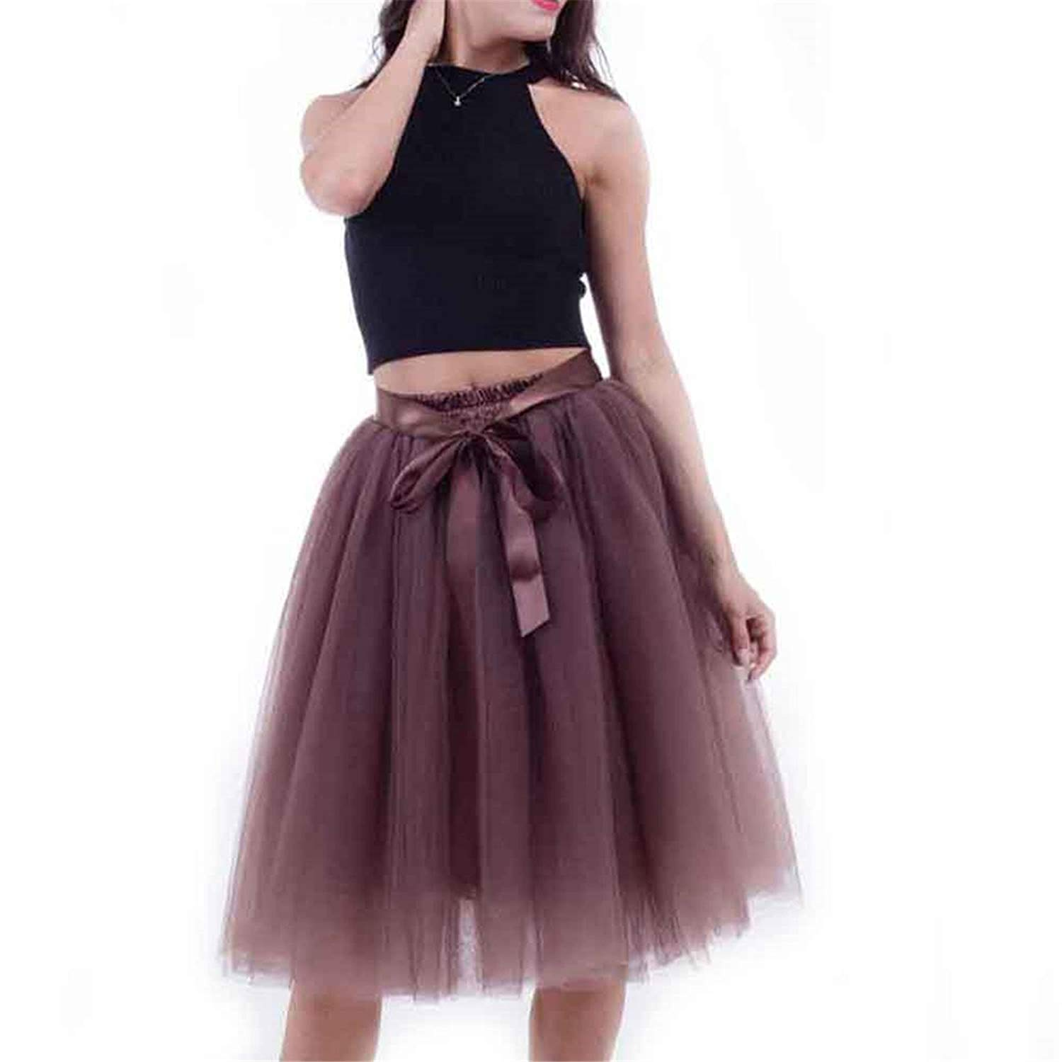 db8d34dc2a Get Quotations · Skirts Womens 6 Layers Midi Tulle Skirt Plus Size Women  Tutu Skirts Ball Gown Party Petticoat