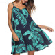Print Cami Dress Women Summer Backless Tie Beach Vacation Swing Dress V-neck Sleeveless Mini Dress