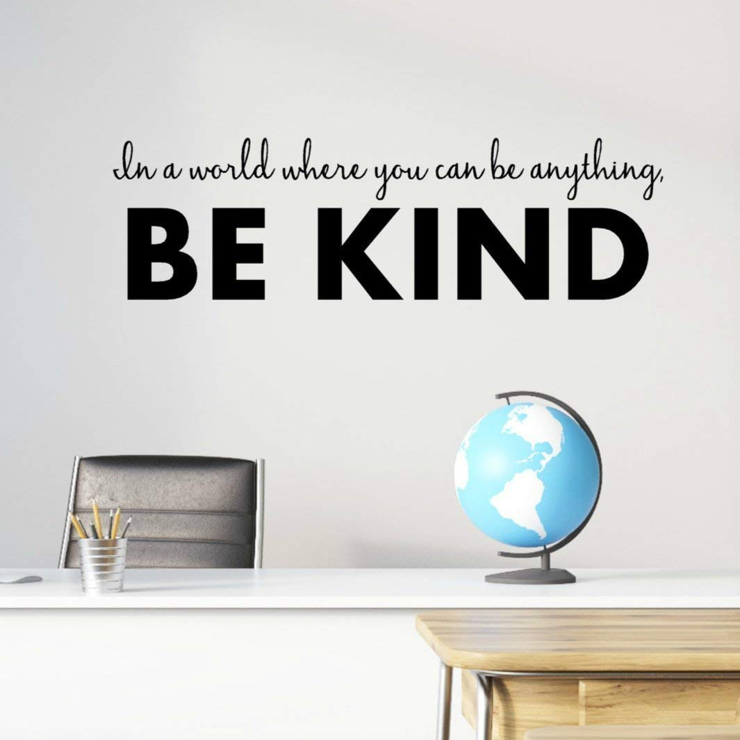 """Be Kind Vinyl Wall Decal, Classroom Inspirational Quotes, 36""""x10"""" Black, Anti Bullying Stickers"""