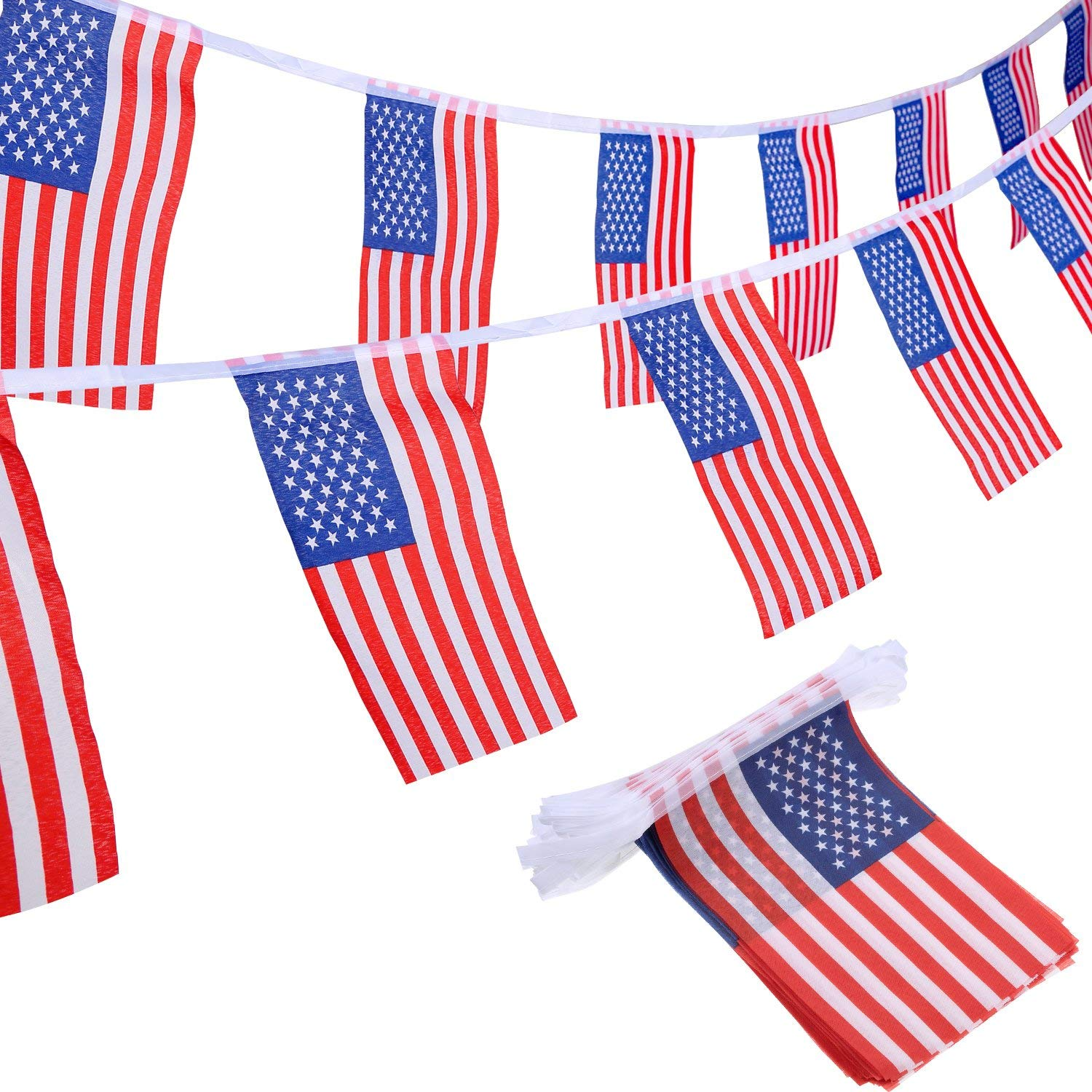 Jovitec 100 American Bunting Flags Banner String USA Pennant Flags Stars Stripes Flags 4th July, Memorial Day, Veterans Day, Independence Day, Labor Day, Flag Day Decorations