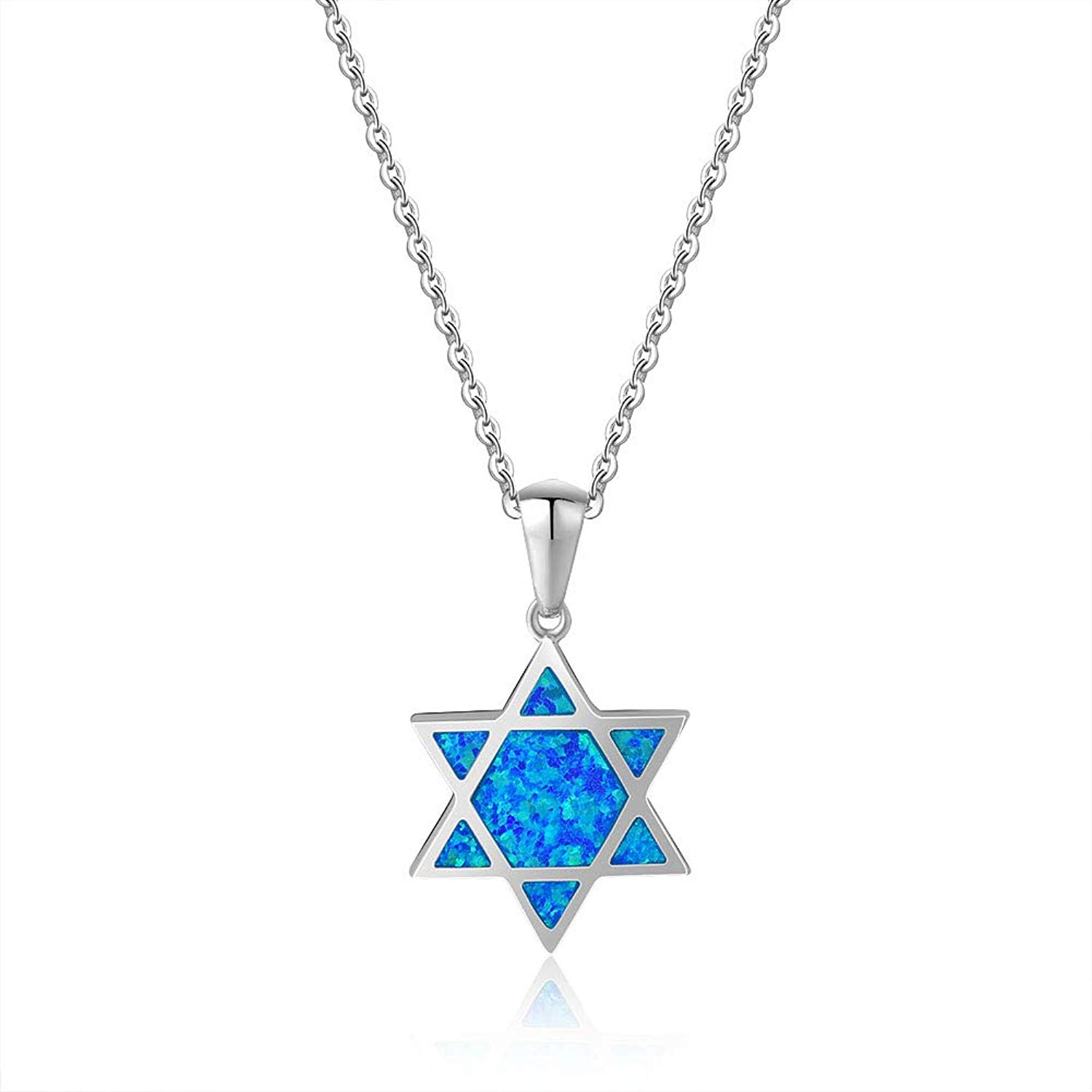 Fancime Created Opal Star of David Necklace 925 Sterling Silver Long Chain Charm Geometric Pendant Jewelry for Women Girls 18""