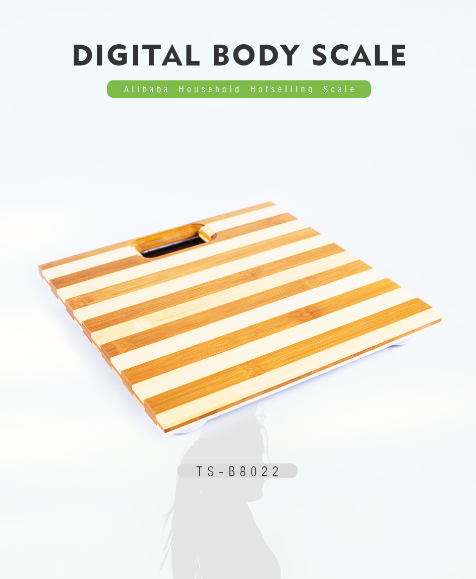 2020 new comfortable digital bathroom scale with zebra pattern 180kg bamboo human scale