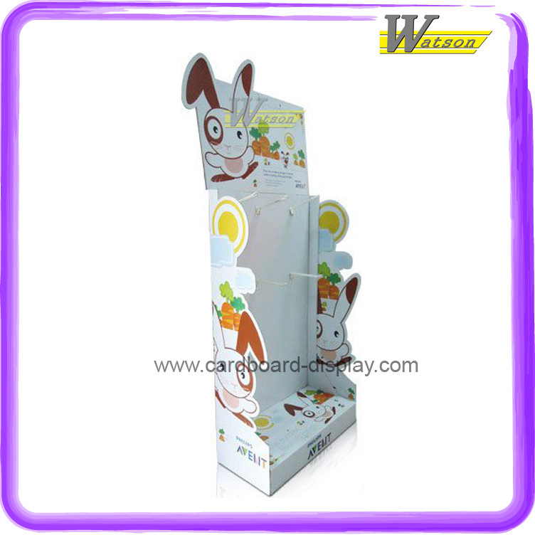 pet shop new design rabbit food cardboard display shelf with plastic hook