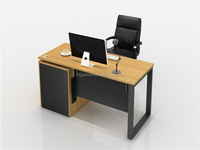 Guoxun Wholesale Computer Desk Office Table Executive secretary furniture with material leg and long side cabinet