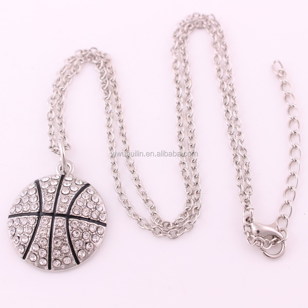Basketball Necklace Pave Clear Crystal Chain & Pendant For Men/Women Hot Sport necklace jewelry