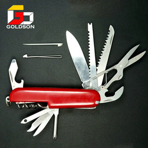 folding plastic handle swiss knife with 11 accessories