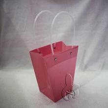 32.5x23x8 cm flat bottom trapezoid plastic gift bag with plastic handle