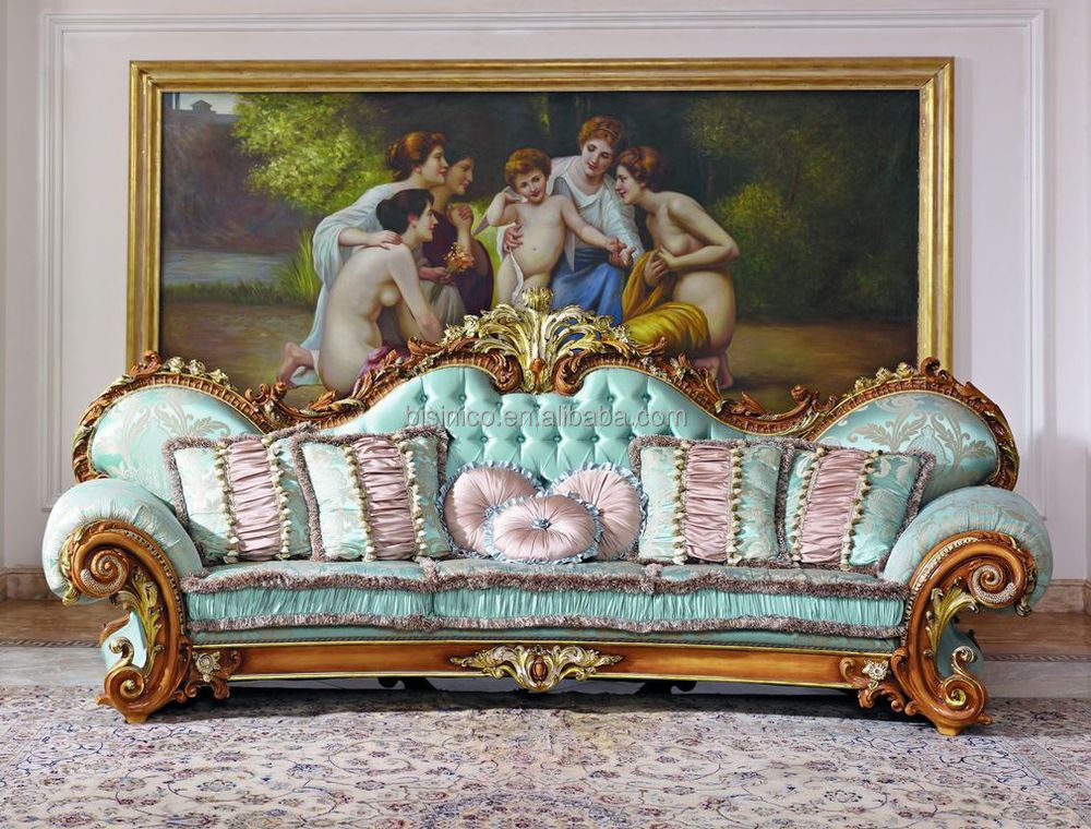 Luxury french baroque style living room blue sofa set for Sofa barock