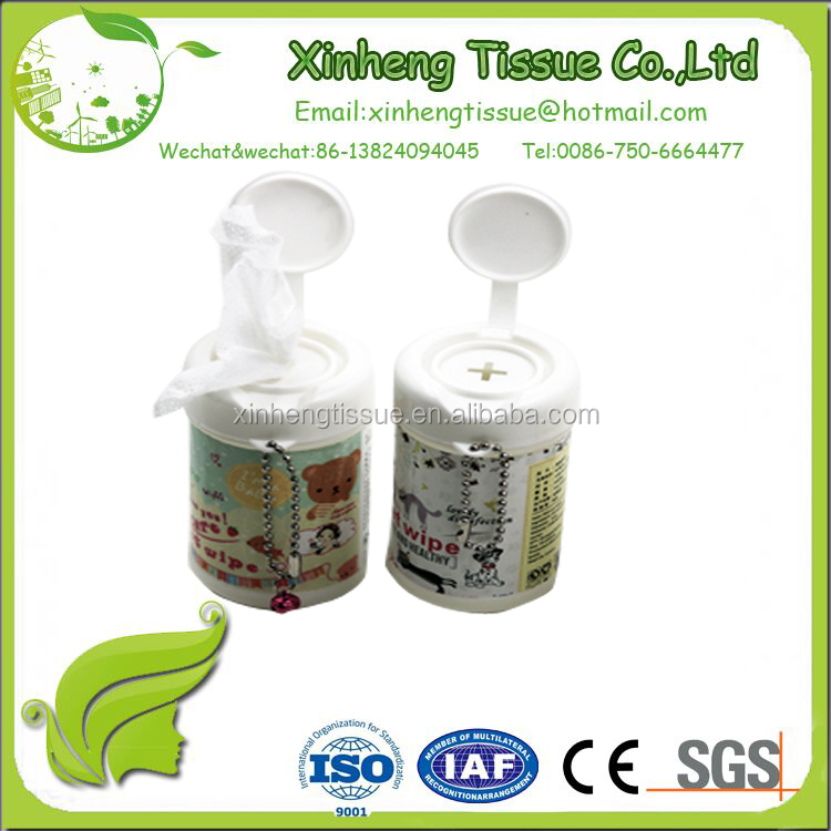 the 30pcs fashionable gift promotion mini wet wipes in canister with customer's design