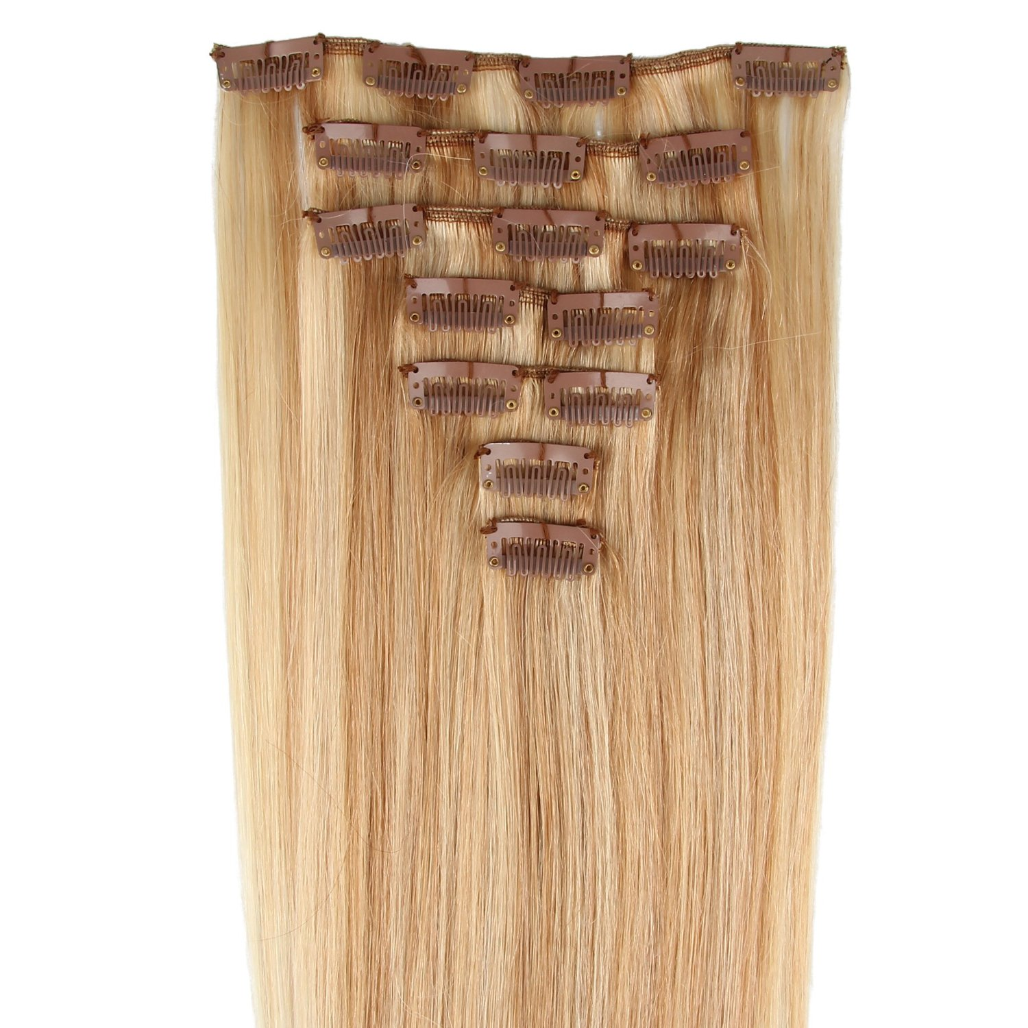 """Beauty7 15"""" 18"""" 20"""" 22"""" 24"""" Clip in Real Human Hair Extensions Straight #27/613 Strawberry Blonde & Bleach Blonde(20"""" 7pcs 70g)"""