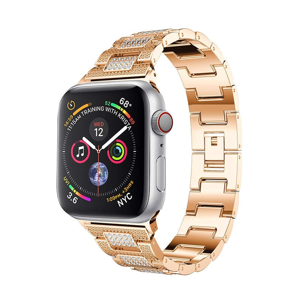AutumnFall Watchband Strap for Apple Watch,Luxury Alloy Crystal Watch Band Wrist Strap for Apple Watch Series 4 44MM (Rose Gold)