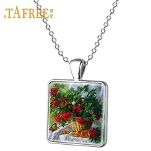 Ожерелье с подвеской в виде цветка TAFREE, квадратное ожерелье с подвеской в виде подсолнуха и розы, подарок для влюбленных, украшения E214(Китай)