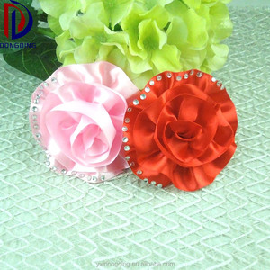 Wholesale custom satin ribbon rose flower handmade curly bow with pearl