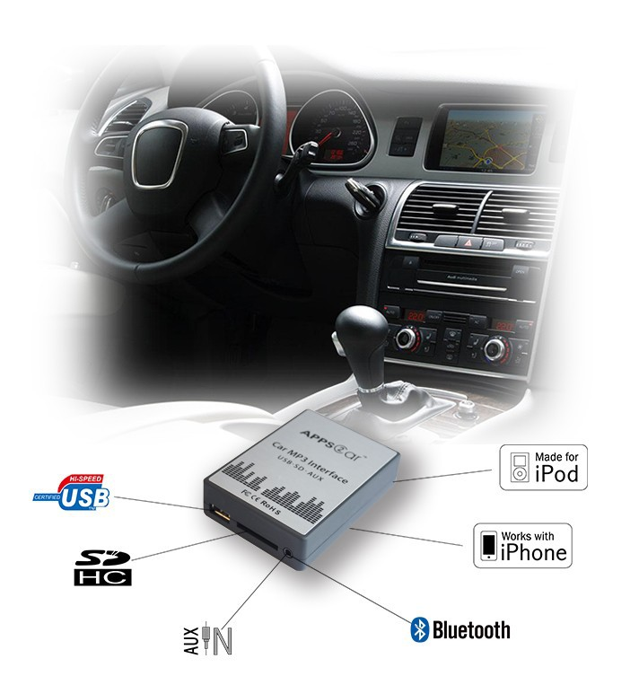 Auto usb sd aux adattatore per autoradio oem, usb sd aux car audio mp3 adattatore