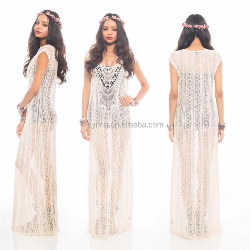 Fashion Woman Crochet Maxi Dress Sleeveless Hippie Boho Gypsy Lace Sheer Ivory Handmade