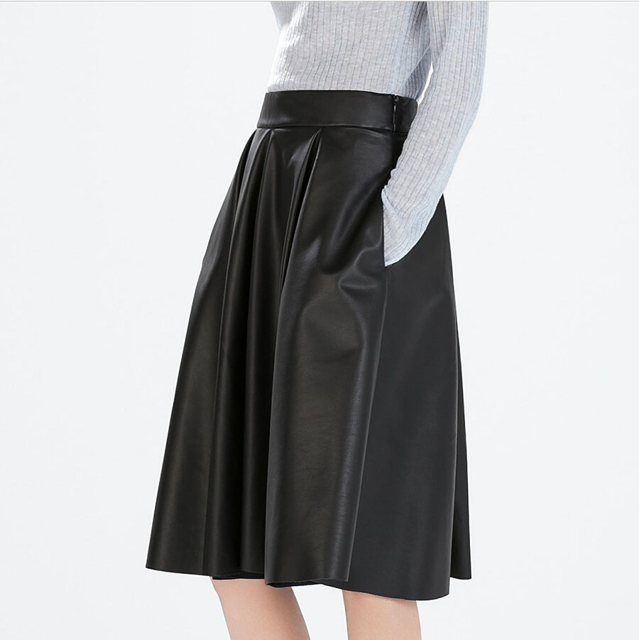Buy 2015 New PU Leather Skirt Women Sexy Black Pockets Pencil ...
