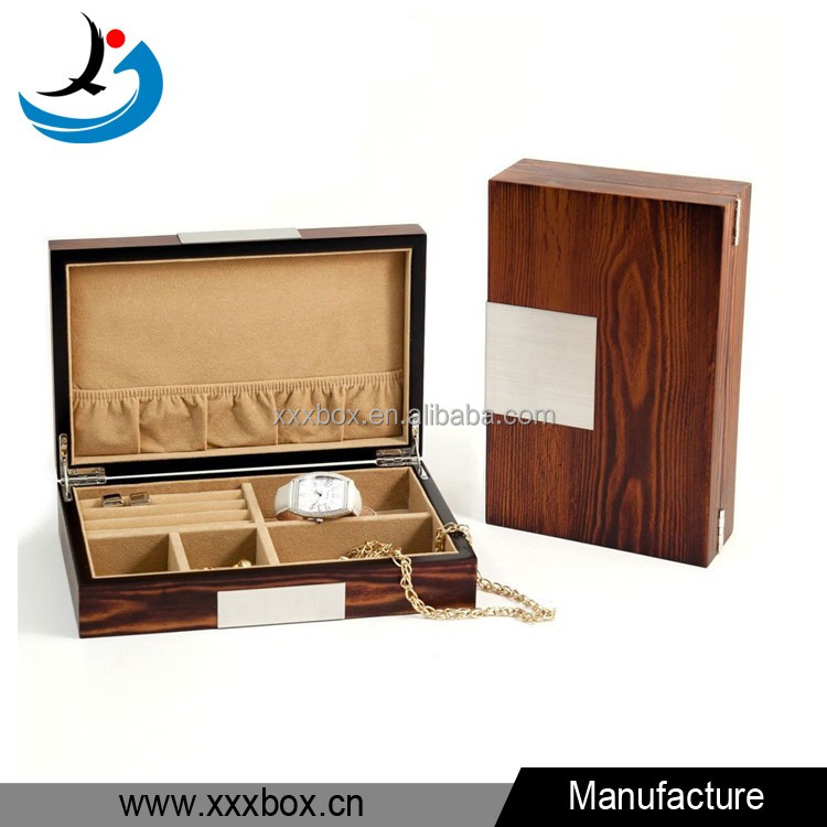 Executive High Gloss Natural Wood Piano Finsh Watch Cufflink Jewelry Box Case