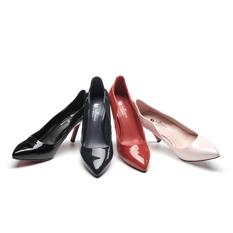 slim toe pointed leather shoes elegant G033 pumps high heel patent wedding qwEtngfx