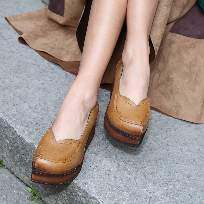 pumps pointed new shoes leather flat women genuine style wedge toe platform 2017 z5qH7