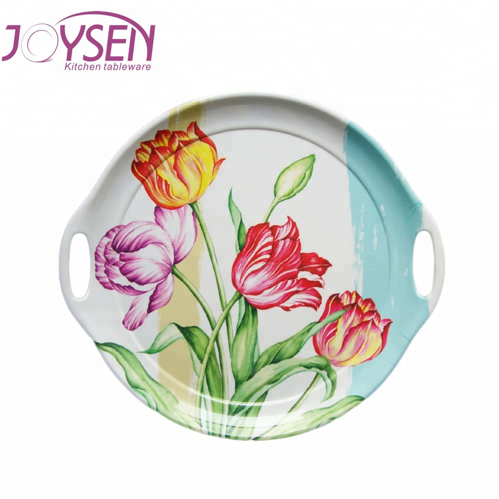 Custom Printed Cheap Plastic Round Melamine Serving Tray With