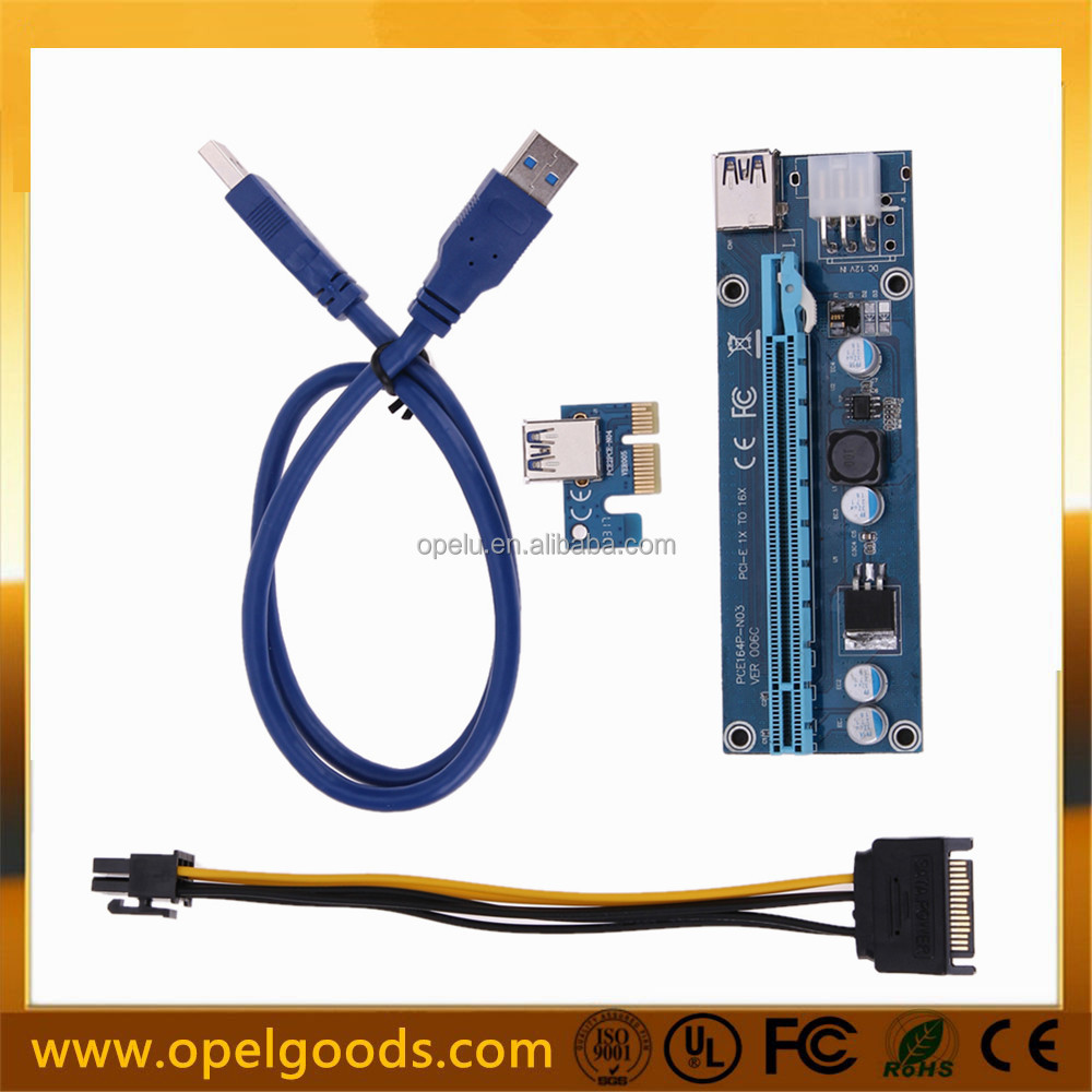 PCI-E 1x to 16x USB Riser Powered Adapter Card with 60cm USB 3.0 Extension Cable and Sata To 6pin power cable