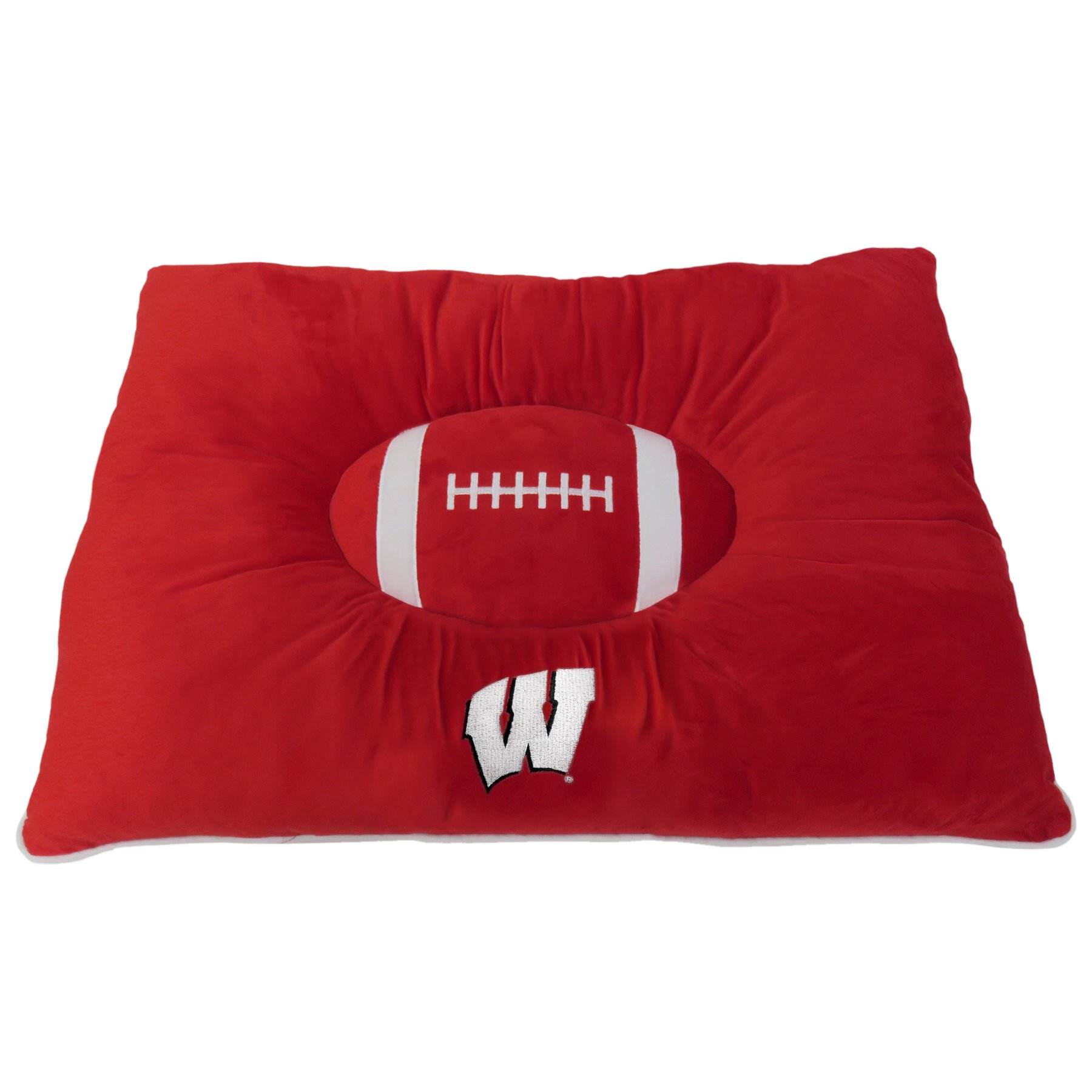 "NCAA PET BED - Wisconsin Badgers ""Soft & Cozy"" Plush Pillow Bed. - FOOTBALL DOG BED. Cuddle, Warm Collegiate Mattress BED for CATS & DOGS"