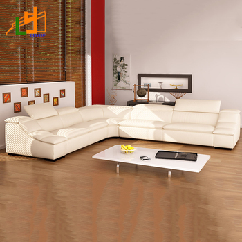 Heated Living Room Furniture L Shaped White Sofa India Flavour Leather
