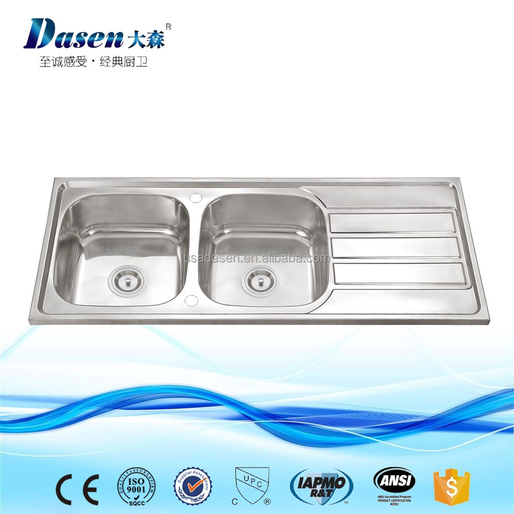 116 cm stainless steel double bowl single drainer inset sink right - Stainless Steel Sink With Backsplash Stainless Steel Sink With Backsplash Suppliers And Manufacturers At Alibaba Com