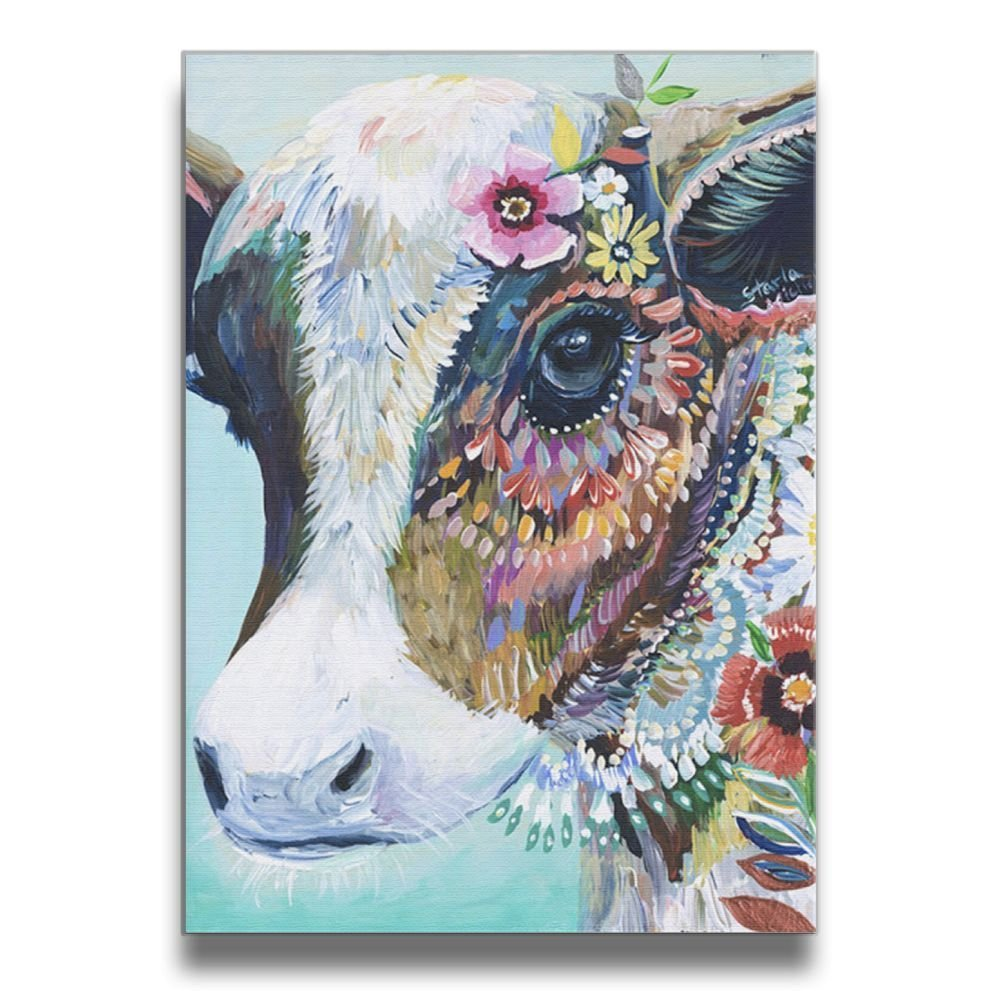4fbd07e2d675 Get Quotations · Martoo-store Art Colorful Animals Cow funny Decorative  Artwork Abstract Oil Paintings On Canvas Wall