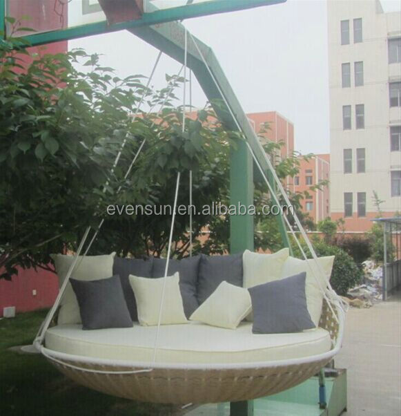 Redondo al aire libre cama colgante columpios de patio for Round hanging porch bed