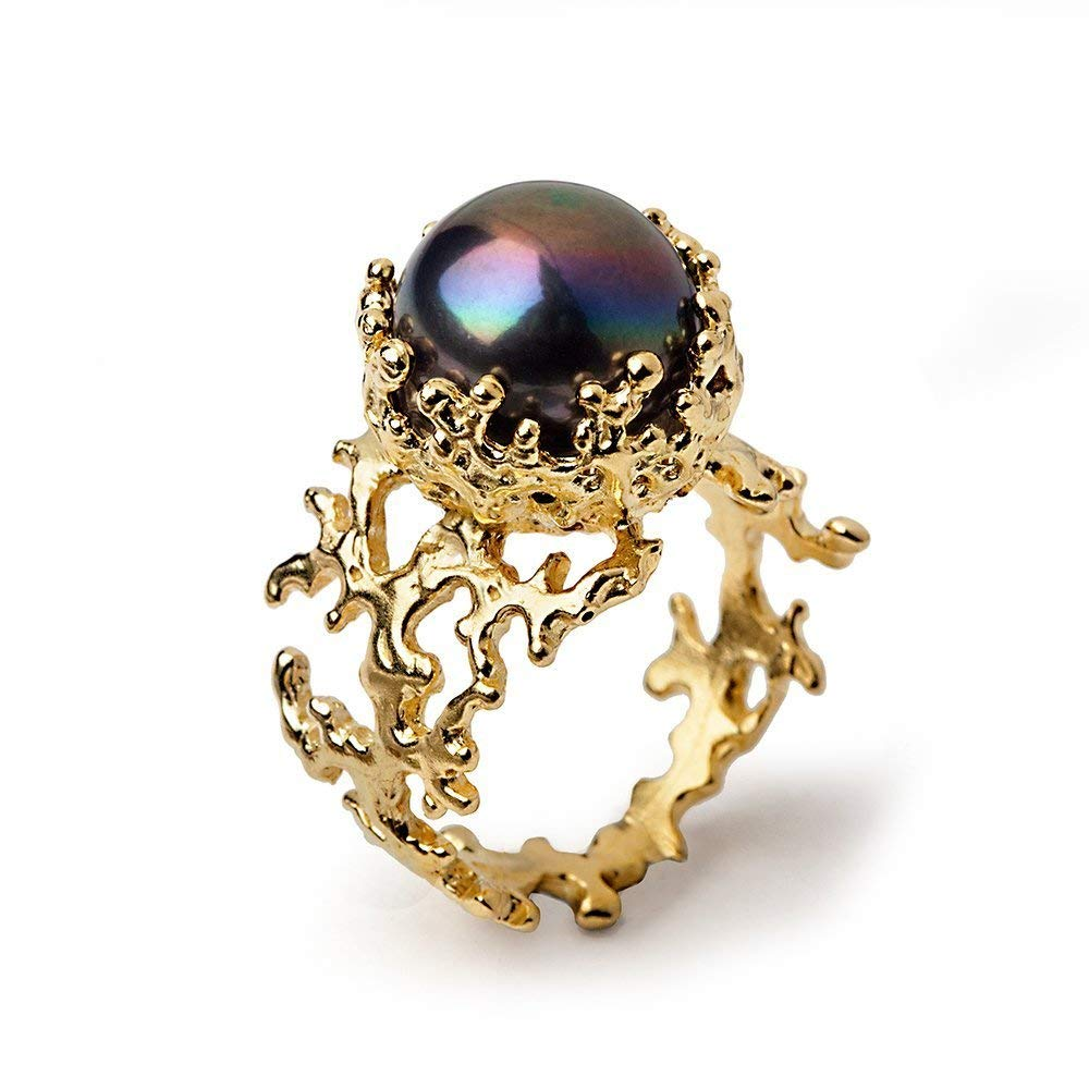 18k Yellow Gold Plated Sterling Silver, 12mm Black Peacock Freshwater Cultured Pearl, Coral Reef Ring, Size 4 to 13