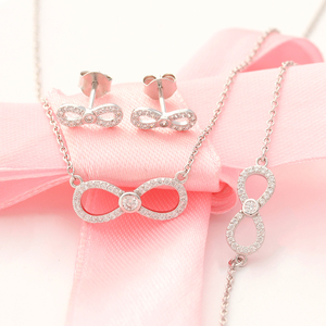 Novelty 2018 Eternal Love Infinity Sterling Silver Jewelry Set for Bride