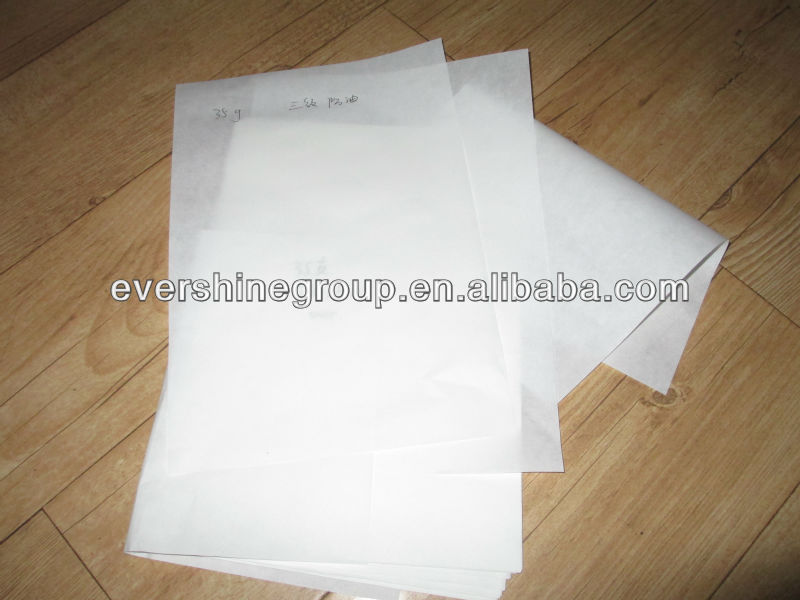 food grade 26g-60g unbleached oilproof paper with white ,brown ,grey color