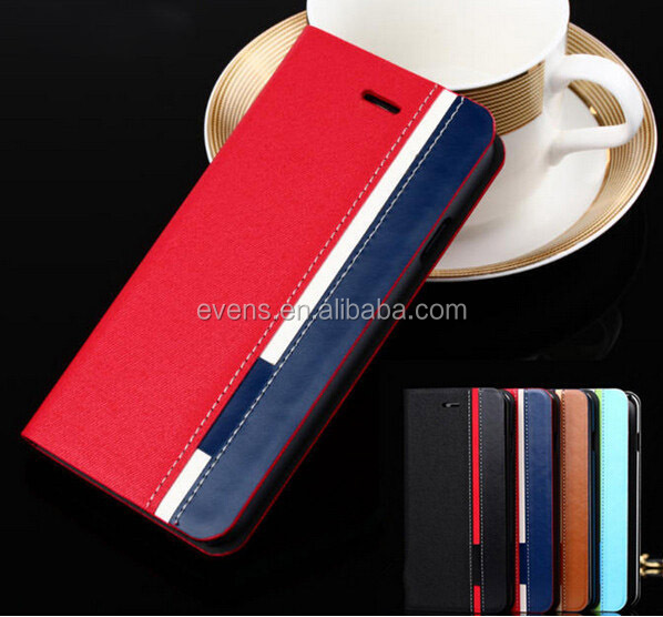 Contrast color Fashion PU Leather Wallet Flip Mobile Phone Case Cover For Huawei S8600