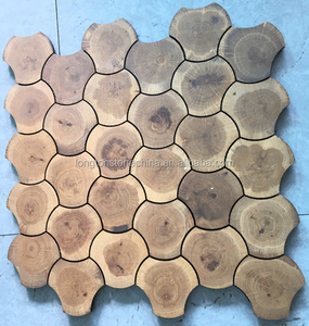 Tree Rings Geometry Irregular Annual Ring Hexagon Mosaic Wood Floor Tiles