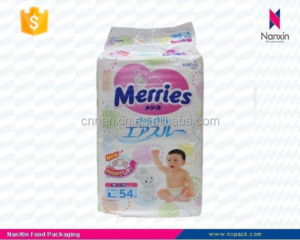plastic paper diaper packaging quad side seal bag