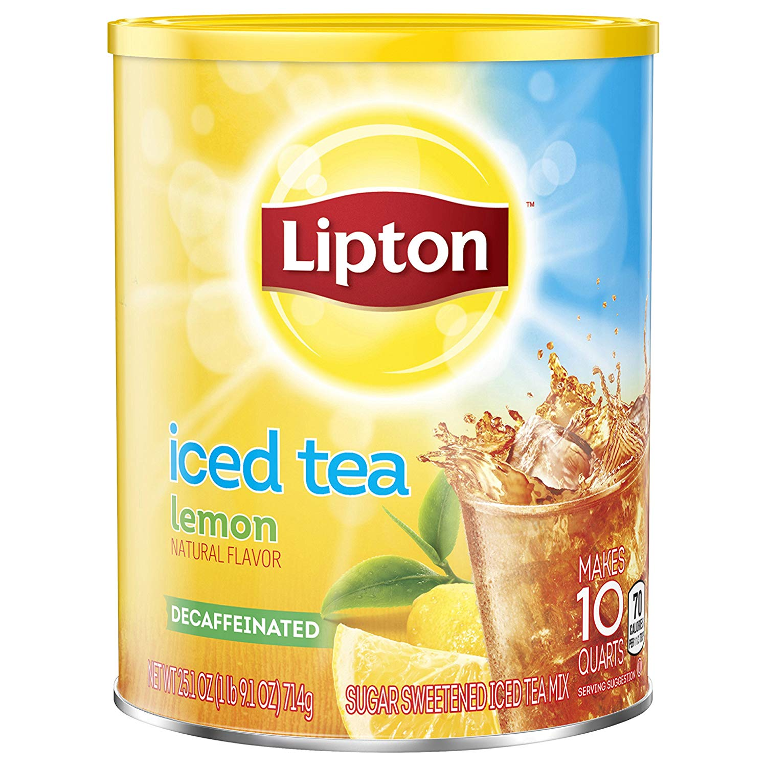 Lipton Black Iced Tea Mix Decaf Lemon Sweetened 10 qt, pack of 6