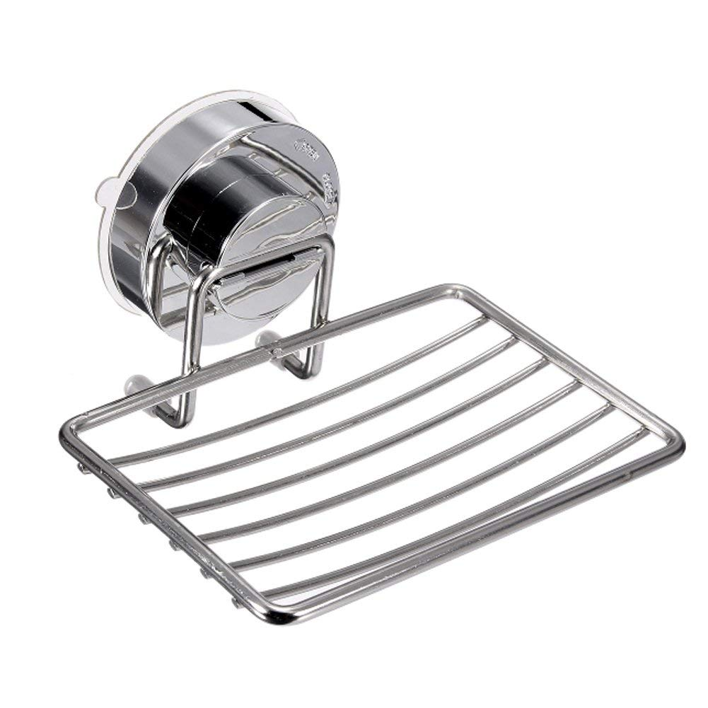 Wikor Soap Dish for Shower Super Vacuum Suction Cup Stainless Steel Soap Holder Sponge Holder for Bathroom & Kitchen Wall Mounted, Removable & Reusable