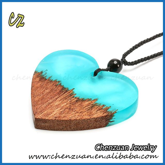 180032fbb67011 Alibaba online shop new design handmade resin wood jewelry heart shape resin  raw wood pendant necklace