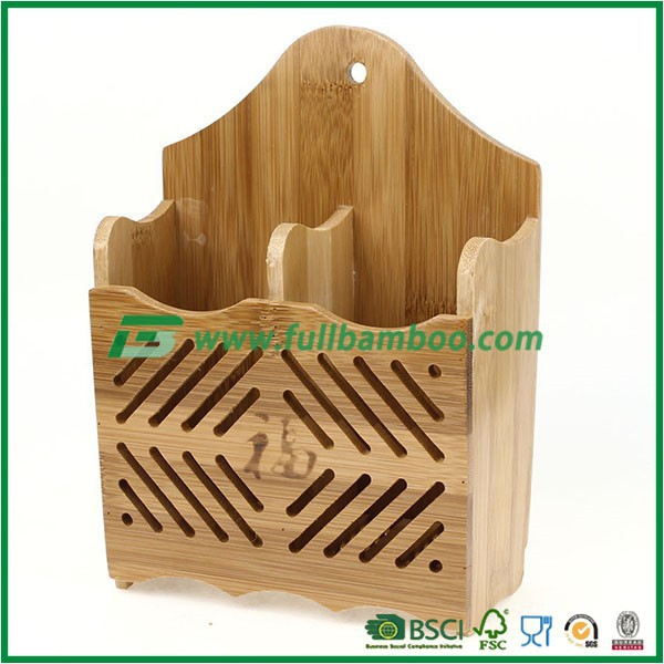 Bamboo Wall Mounted Pen Pencil Stationery Container Organizer Box