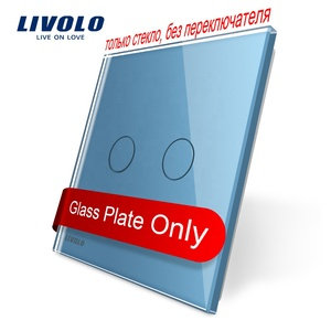 Livolo EU Standard Luxury 2 Gang Colorful Crystal Touch Switch Blue Glass Panel BB-C7-C2-19