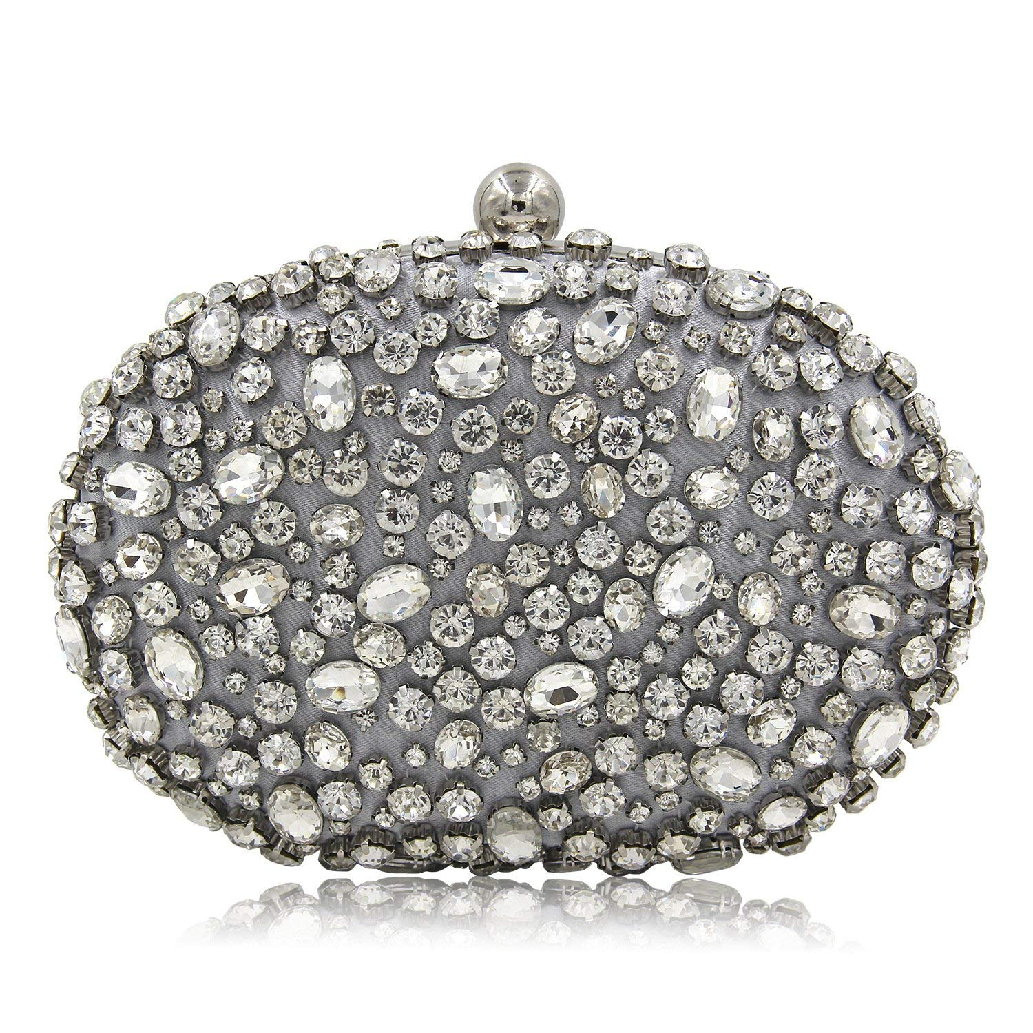 0fd53ad51e Get Quotations · New Design Women Evening Bags Sparkly Beaded Rhinestones  Bridal Wedding Bags Clucth Purse Silver