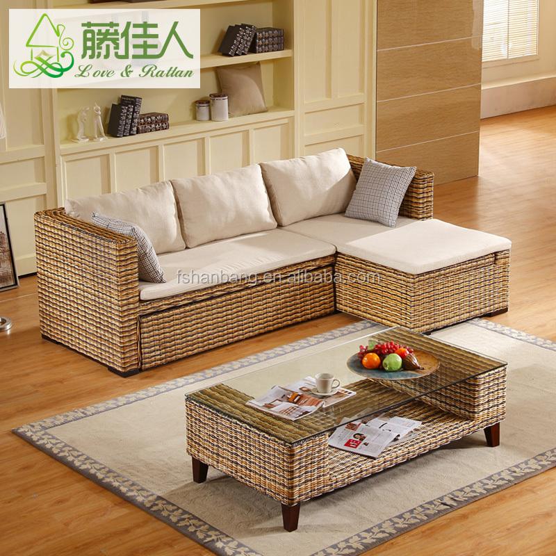Rattan Wicker Hand Woven Living Room Furniture Set Multipurpose Futon Modern Design Corner L Shape Sofa