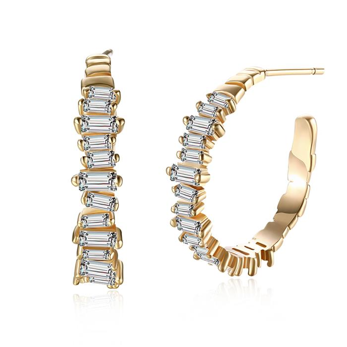 Fashion Champagne Gold Round Clear Cubic Zirconia Copper Women Romantic Hoop Earrings