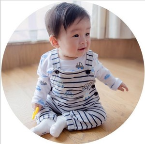S30230W STRIPES AND CARS PRINTED BABYS JUMPSUITS KOREA HOT FASHION BABYS COTTON ROMPERS
