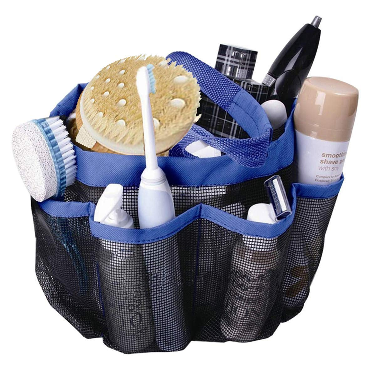 Portable Caddy Toiletry and Bath Organizer Pocket Shower Caddy Tote Mesh Shower Caddy, Oxford Hanging Toiletry with 8 Storage Compartments for Shampoo, Conditioner, Soap and Other Bathroom Accessories